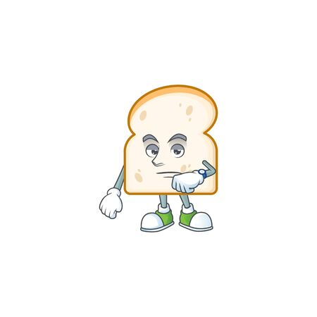 Slice white bread cartoon character waiting shape. Vector illustration