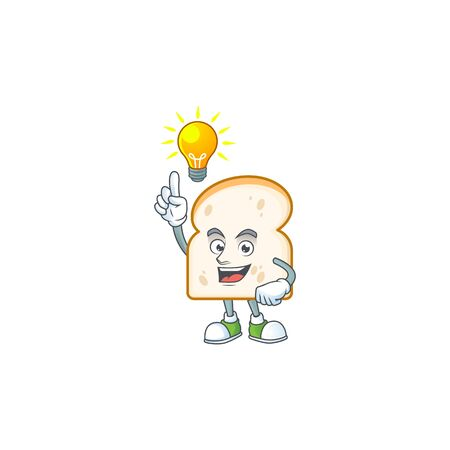 Character mascot have an idea with slice white bread vector illustration
