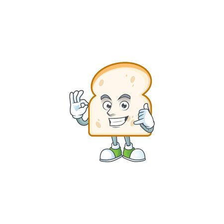 Mascot call me with cartoon slice white bread. Vector illustration