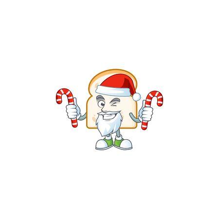 Cartoon slice white bread with mascot santa bring candy. Vector illustration