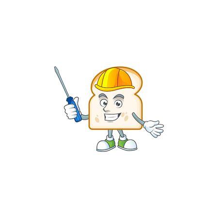 Mascot automotive in slice white bread cartoon shape. Vector illustration Ilustracja