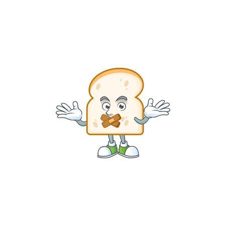 Character silent on cartoon slice white bread. Vector illustration