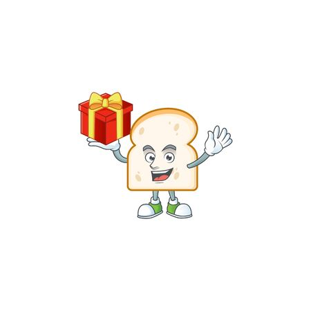 Cartoon slice white bread with character bring gift. Vector illustration