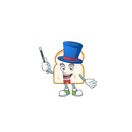 Magician mascot in the slice white bread vector illustration Illustration
