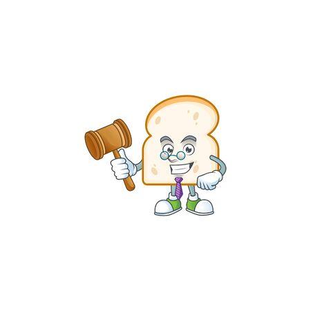 Slice white bread with character mascot judge vector illustration Ilustracja