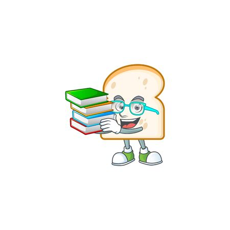 Student bring book in the cartoon slice white bread vector illustration