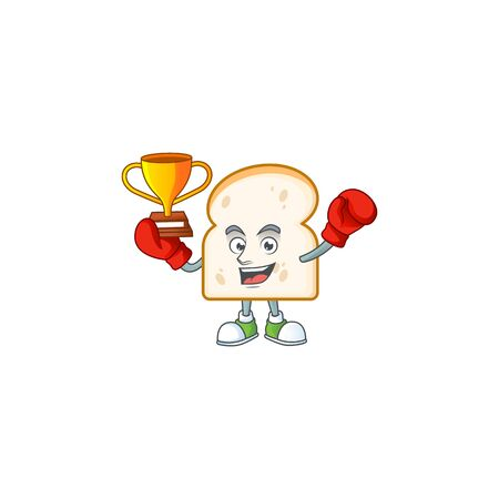 Mascot boxing winner on cartoon slice white bread. Vector illustration