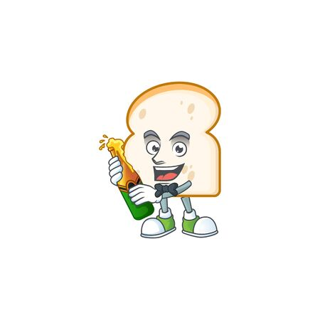 Cartoon slice white bread with mascot bring beer. Vector illustration