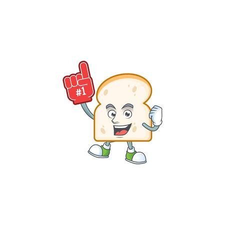 Foam finger character on slice white bread vector illustration