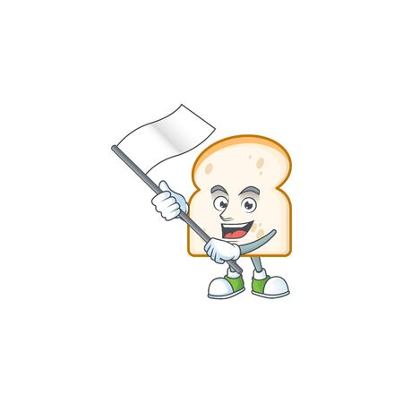 Slice white bread with character bring flag. Vector illustration