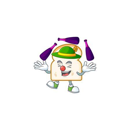 Juggling cartoon character on slice white bread vector illustration