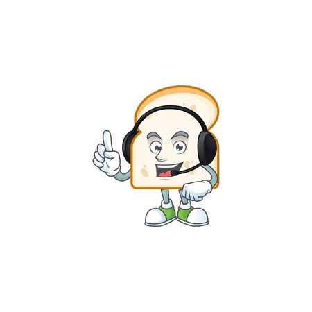 Cartoon character slice white bread with headphone. Vector illustration
