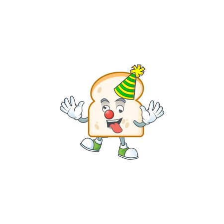 Clown cartoon with slice white bread character shape. Vector illustration Illustration