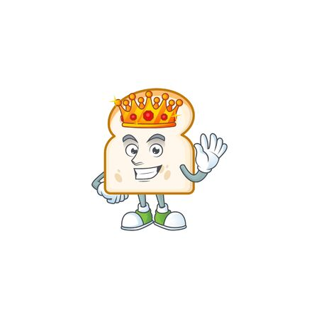 King character in the slice white bread cartoon. Vector illustration