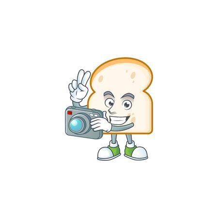 Cute slice white bread with photographer mascot. vector illustration