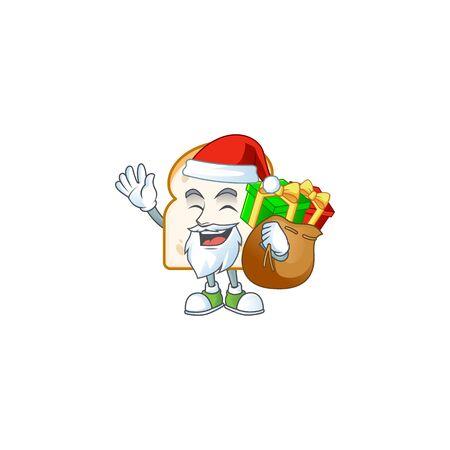 Cartoon slice white bread with mascot santa bring gift. Vector illustration
