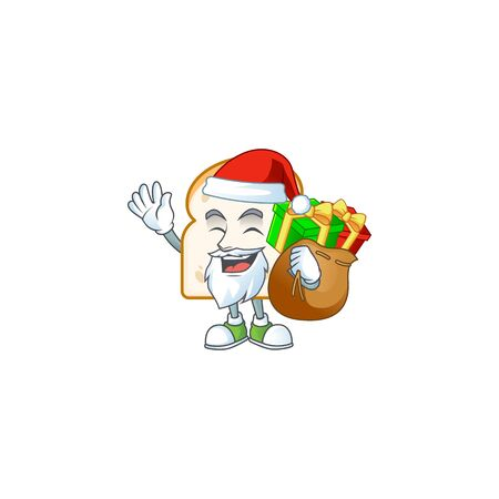 Cartoon slice white bread with mascot santa bring gift. Vector illustration