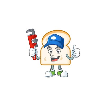 Character on plumber with slice white bread. Vector illustration