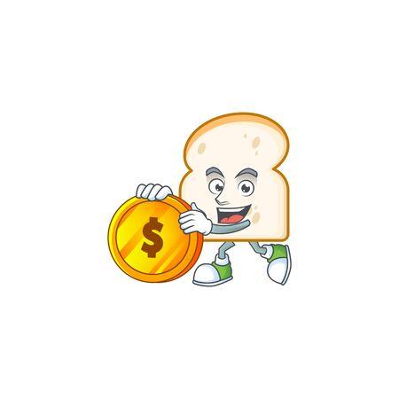 Cartoon slice white bread with mascot bring coin. Vector illustration 일러스트