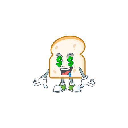 Character money eye in slice white bread vector illustration