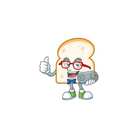 Cute slice white bread with mascot holding gamer. Vector illustration