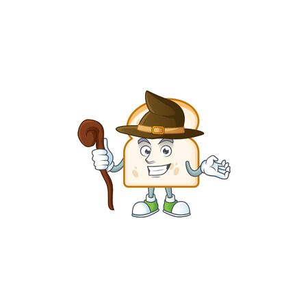 Cute slice white bread with witch mascot vector illustration 일러스트