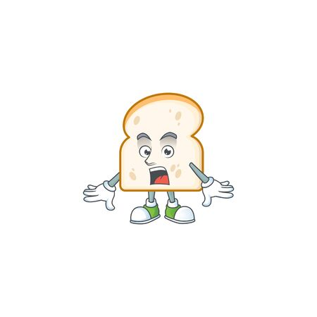 Character surprised in the slice white bread. Vector illustration