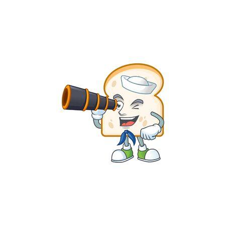 Slice white bread with mascot sailor holding binocular. Vector illustration