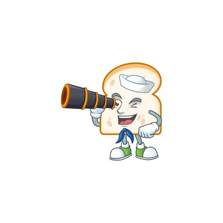 Slice white bread with mascot sailor holding binocular. Vector illustration