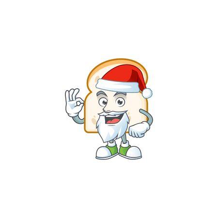 Cartoon slice white bread with mascot santa claus vector illustration