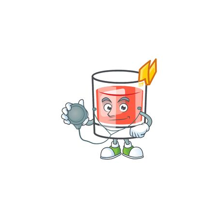 Sazerac drink in glass with character doctor. Vector illustration