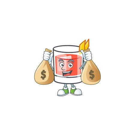 Sazerac drink in glass with character holding money bag. Vector illustration