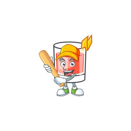 Sazerac drink in glass with character playing baseball. Vector illustration
