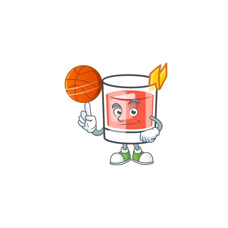 Sazerac drink in glass with character holding basketball. Vector illustration