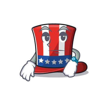 Uncle sam hat with the waiting cartoon . Vector illustration