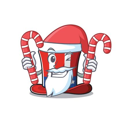 Cartoon uncle sam hat santa bring candy mascot. Vector illustration Иллюстрация