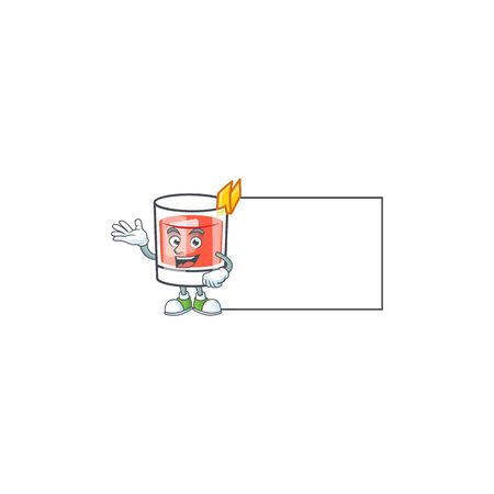 Sazerac drink in glass with character with board. Vector illustration