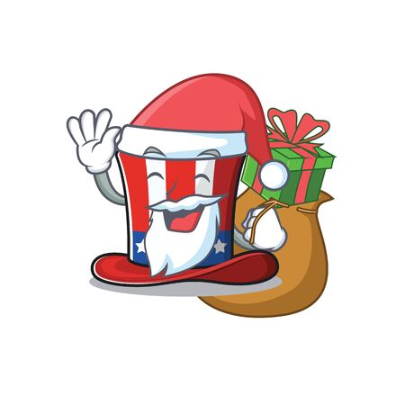 Cartoon uncle sam hat santa bring gift mascot. Vector illustration