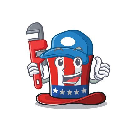Cartoon uncle sam hat with plumber character . Vector illustration