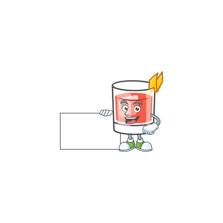 Sazerac drink in glass with character grinning with board. Vector illustration