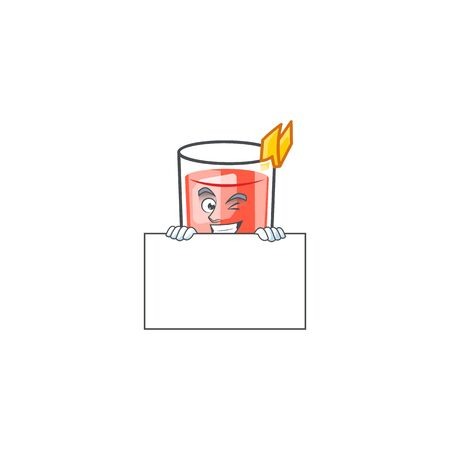 Sazerac drink in glass with character squinting with board. Vector illustration