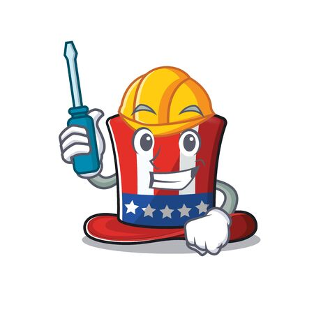 Isolated uncle sam hat with automotive cartoon. Vector illustration