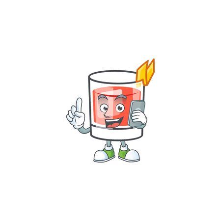 Sazerac drink in glass with character with holding phone. Vector illustration  イラスト・ベクター素材
