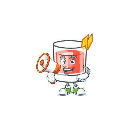 Sazerac drink in glass with character with holding megaphone. Vector illustration