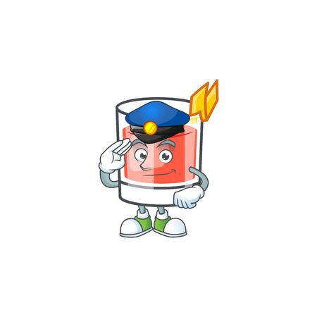 Sazerac drink in glass with character police. Vector illustration  イラスト・ベクター素材