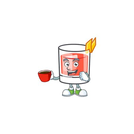 Sazerac alcohol cartoon character with drinking in cup mascot vector illustration  イラスト・ベクター素材