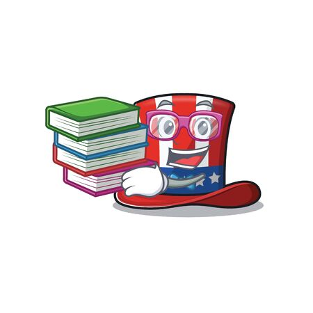 Character uncle sam hat with student bring book