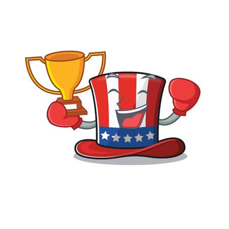 Cartoon uncle sam hat with boxing winner Иллюстрация