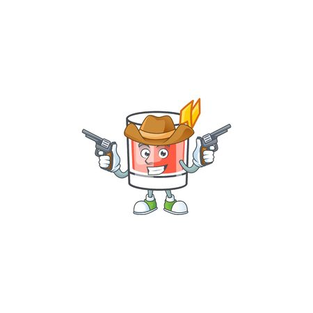 Sazerac drink in glass with character cowboy. Vector illustration  イラスト・ベクター素材