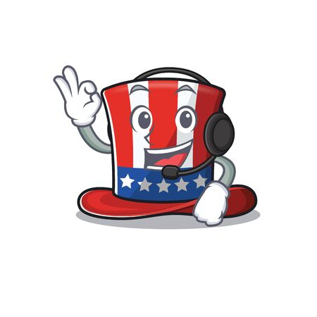 Mascot uncle sam hat with the headphone